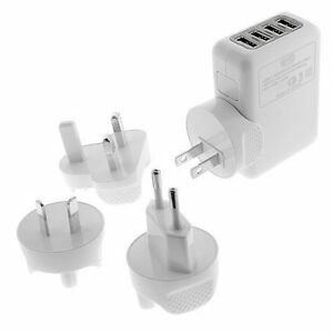 2.1Amp 4Port USB Global US, UK, EU, AU Plugs Home Travel Charger for Cell Phones