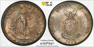 PCGS MS-65 PHILIPPINES SILVER 10 CENTAVOS 1944 -D (DEEPLY TONED GEM!)
