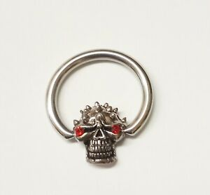 "Captive Nipple Ear Ring Heavy 10 Gauge 5/8"" w/Skull w/Red Eyes - Unique"