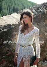 Nuevo ❤ auténtico ZARA Floral Encaje Crochet el entorchado Maxi Vestido Largo Celebridad-M