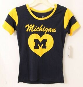 NEW Michigan Wolverines Colosseum Yellow Lightweight T-Shirt Youth Girls M 7-8