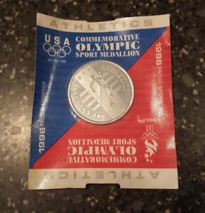 1996 USA Commemorative Olympic Sport Medallion Track Atlanta In Orginal Pak