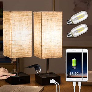 ZEEFO Touch Lamps, Nightstand Table Lamp Built-in Dual USB Charging Ports, 2 AC