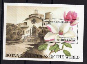 STAMPS - SIERRA LEONE - FLOWERS - MAGNOLIA - MINIATURE SHEET - 1991