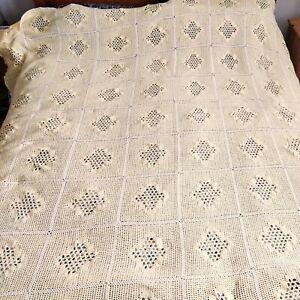 Large Vintage Handmade Yellow & White Open Weave Crochet Blanket Throw Bedspread