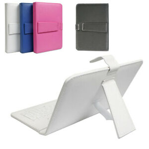 """Universal Leather Micro USB Keyboard Case Cover for 9"""" inch Android Tablet White"""