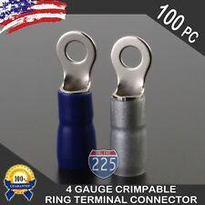 "4 Gauge Platinum Ring Terminal 100 Pack Wire Crimp Silver Blue Boot 3/8"" Stud US"