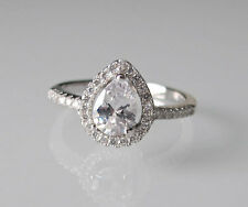 STERLING SILVER Pear Shaped CZ Pave Engagement Ring, Size 10 New in Box
