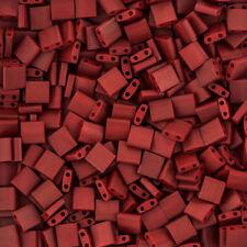 Miyuki Tila 2 Hole Seed Beads 5mm Matt Metallic Dark Maroon TL2040 7.2g (K80/9)