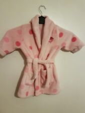 Ref 164 - Girls Childrens Pink Spotted Dressing Gown/ Nightwear Age 12-18 Months