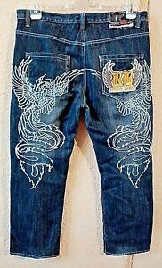 PREMIUM RB Jeans, RAW BLUE, Jeans, schwarz, Gr. 32/32, tolles Motiv