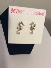 "Betsey Johnson Jewelry B11172-E01 ""The Sea"" Seahorse  Stud earrings #88"