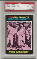 1971 TOPPS # 202 NL PLAYOFFS , PSA 8 NM-MT, REDS CELEBRATE, BENCH / ROSE L@@K