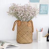 Handwoven Bag Tote Shopping Picnic Basket Laundry Organizer Box Yellow S