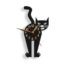 "Black Cat Wooden Wall clock 12""(30cm), Pretty Cat Lover Gift #94"