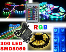 Striscia led smd 5050 300 led 5mt strip led rgb telec. control. alimen 5A IP66