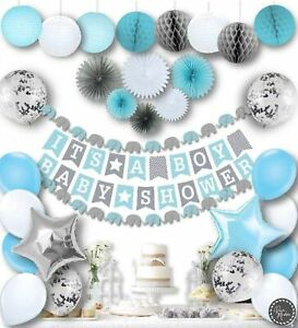 Baby Shower Decorations for Boy Kit by RainMeadow, Elephant Theme, Blue and Gray