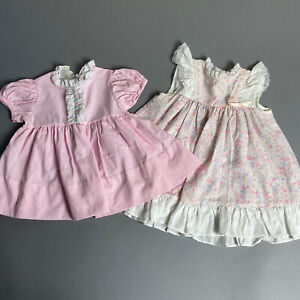 Vintage 80s Lot of 2 Baby Girl 12M Pink Dresses Floral Print 1980s Casual
