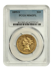 1899-S $10 PCGS MS62 PL - Tied Finest Known - Liberty Eagle - Gold Coin