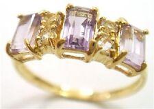 10K SOLID GOLD .90 CARAT NATURAL AMETHYST & .25 CARAT NATURAL WHITE TOPAZ RING