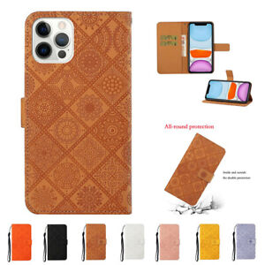 For iPhone 12 Mini 11 Pro X XR XS Max 7 8 Embossing Flip  Leather Phone Case
