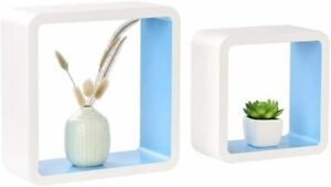 Homewell Set of 2 Cube Floating Shelves Wood Wall Shelves for Home Decoration