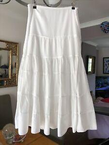 Lovely Principles White Peasant/Boho Cotton Long Skirt Size 12