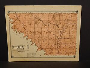 Iowa Plymouth County Map Sioux Township  1914  W10#75
