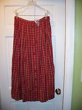 NWT Bridgewater Red Plaid Long Skirt Size 12 Elastic Back Waist