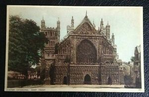 POSTCARD; 205; EXETER CATHEDRAL, WEST FRONT; UN POSTED
