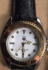 Audi logo new men`s wrist watch,white face & black leather strap,TTvA3 A4 A5 A6