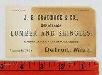 Vintage 1900's Craddock Lumber Shingles Detroit Michigan Business Card