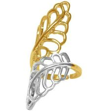 """Karine Sultan 24 k Gold-plate & Silver-plate Leaf Statement Ring 2"""" Long French"""