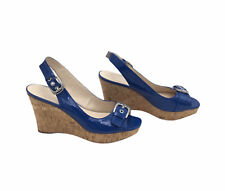 Franco Sarto #93495-8 Carnival Denim Peep Toe Patent Blue Wedge Slingback  - 8.5