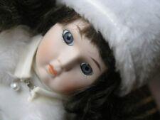 "Beautiful Marian Yu Russian Princess Bisque Girl Doll White Velvet Dress 16"" Fur"