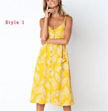 Stylish Womens Holiday Strappy Button Pocket Summer Beach Midi Swing Sun Dress