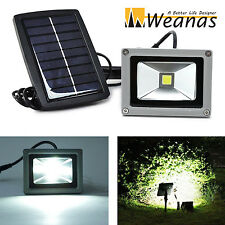 Weanas 10W Solar Powered LED Security Flood Light Outdoor Garden White Lamp New