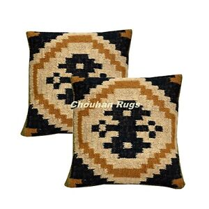 2 Set of Vintage Kilim Pillow Hand Woven Jute Rug Rustic Pillows covers 1068-BB