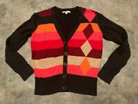 Cabi Argyle Cardigan Sweater Button Down Multicolor V-Neck Long Sleeve Women's M