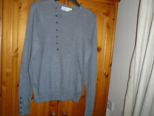Mens grey lightweight long sleeve jumper, TOPMAN, size Small