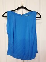 Alice + Olivia Blouse Size M Blue Boxy Silk NWT Cropped Sleeveless Loose Top