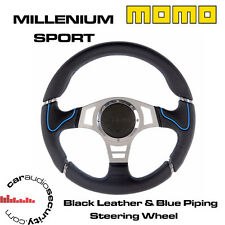 Volante Momo Milenio Sport 350MM Cuero Negro Azul Tubería