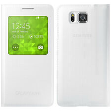 For Samsung Galaxy Alpha G850F S-View Flip Case Cover White Book Style
