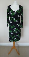 FAB Laura Ashley Black Green White Floral Jersey Day Dress Size 8 VGC Ruched