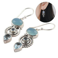 Jewelry Chic Hook Moonstone Earrings Peridot Multi-Gemstone Topaz Ear Stud