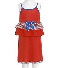 Laura Dare Toddler Girls Red White Blue Stripe 2pc Pajama Capris Set Sz 3T NWT