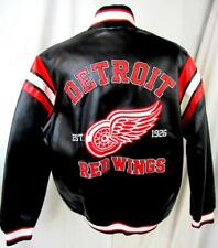 """Detroit Red Wings Mens Large Full Zip """"Est 1926"""" Faux Leather Jacket Adrw 42"""