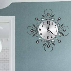 3D Wall Clock Luxury Metal Diamonds Flower Silent  Art Office House Living Room