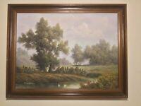 Vintage  framed original signed oil painting on canvas superb