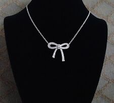 925 Sterling Silver Cubic Zirconia Ribbon Necklace For Children & Women